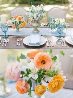 orange blue and white wedding reception ideas with vintage class and florals #weddingreception #tabledecor #weddingchicks http://www.weddingchicks.com/2014/01/30/jekyll-island/