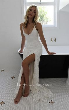 Spaghetti straps Lace Wedding Dress, Backless Split Wedding Dresses, Boho Beach Wedding Dress, Bridal Gowns, 356 · Loveprom · Online Store Powered by Storenvy Backless Lace Wedding Dress, Rustic Wedding Dresses, Lace Mermaid Wedding Dress, Dream Wedding Dresses, Bridal Dresses, Wedding Dresses With Slit, Wedding Gowns, Hipster Wedding Dresses, Hawaiian Wedding Dresses
