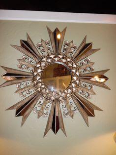 "Sunburst Mirror Silver Finish Width: 43"" Condition: Excellent Price: $185"