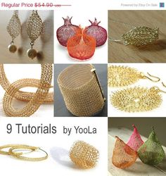 20% SALE - 9 Wire Crochet Patterns how to crochet wire jewelry PDF patterns crochet wire work yoola tutorials ebook jewelry instructions