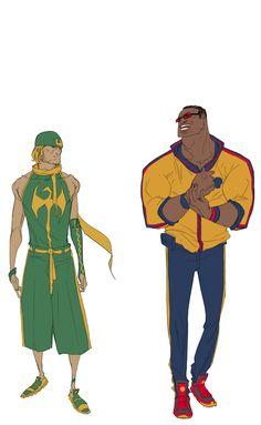 Luke and Danny by Sanford Greene Comic Book Characters, Marvel Characters, Comic Character, Comic Books Art, Comic Art, Book Art, Character Ideas, Character Inspiration, Marvel Dc