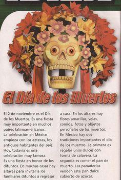 EL Día de los Muertos Teach Me Spanish, Learn Spanish Online, Ap Spanish, Spanish Culture, Spanish Basics, Spanish Teacher, Spanish Classroom Activities, Spanish Teaching Resources, Spanish Language Learning