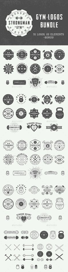Vintage Gym Emblems Set of vintage gym logos, badges, emblems and design elements Can be used for logo design, badge design, shop sign and much more.  You get:  51 logos 22 design elements 8 fun motivational posters Easy to modify, edit, re-size, vectors available in AI and EPS formats, all 100% editable. Text 100% editable and can be easely removed. All files are in AI, EPS, PSD and JPG formats. Fonts and mock-ups are not included.  List of used fonts:  Octin Vintage Headliner 45 Promesh…