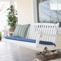 5 FT Weather Resistant Eco-Friendly White Wood Porch Swing with Classic Slat Curved Back