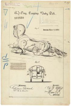 """1871 patent drawing for """"creeping baby doll"""". Majorly creepy, no? Arte Pop Up, Weird Inventions, Patent Drawing, Ex Machina, National Archives, Art Graphique, Patent Prints, Lettering, Retro"""
