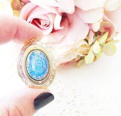 Blue Sapphire Fire Opal Locket Necklace  Gold Blue Opal