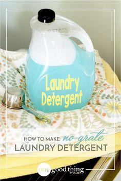 How To Make Your Own No-Grate Liquid Laundry Detergent - One Good Thing by JilleePinterestFacebookPinterestFacebookPrintFriendly