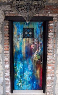 I want a fun door! I don't know where I'm going to end up but I need to have a fun door- if not the front entrance then to the garden! A fun painted door with a crazy floral mosaic surrounding it! Cool Doors, Unique Doors, Door Knockers, Door Knobs, When One Door Closes, Door Gate, Painted Doors, Wooden Doors, Closed Doors
