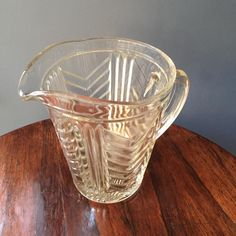Lovely #PressedGlass #1950s Chevron #WaterJug or #CocktailJug, £8 by @myvintagewren - A lovely pressed glass 1950s vintage jug or pitcher. Ideal for water, juice, cocktails or flowers. Gorgeous chevron pattern - very Art Deco in style.  In good condition with no chips or cracks but some small manufacturing bubbles can be spotted.   Measures 16cm high.  A great addition to any kitchen table or party. Further vintage jugs are available
