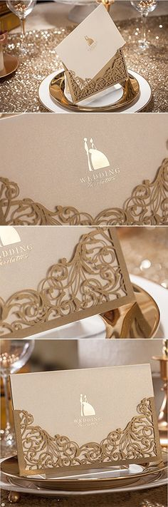 Wishmade 100x Elegant Blue Laser Cut Wedding Invitations Cardstock with Hollow Favors for Bridal Shower Birthday Engagement Baby Shower Graduation Card Paper CW5102