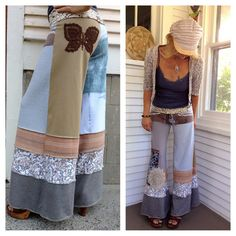 CUSTOM Make Request, Shabby Chic Gauchos,Full Payment, patchwork, Upcycled Clothing,festival, boho, you choose colors by Zasra
