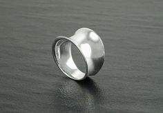 Wide Curved Ring Sterling Silver Minimalist Ring Large by KRAMIKE