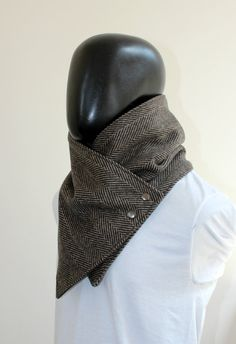 Mens winter. Mens cowl scarf. Chunky scarf. Black by CheriDemeter