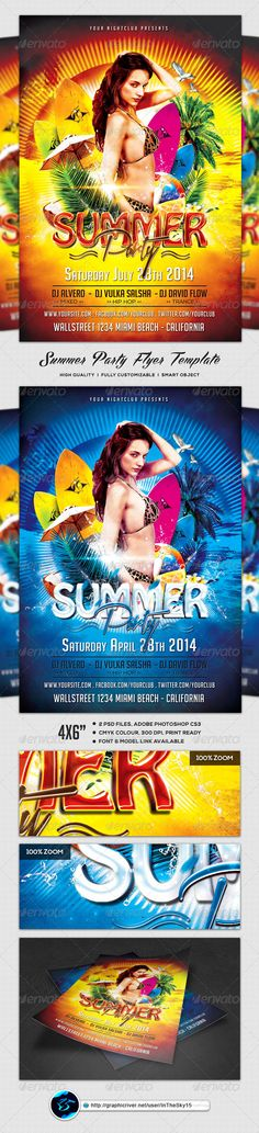 Summer Party Flyer PSD Template| Buy and Download: http://graphicriver.net/item/summer-party-flyer-template/8219071?WT.ac=category_thumb&WT.z_author=InTheSky15&ref=ksioks
