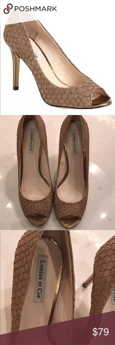 """Louise Et Cie Scorpio Open Toe Pumps size 11 Beautiful LOUISE ET CIE Open Toe Pumps. Size 11.   Gold Scale Design. Very comfortable. 3.75"""" heel.   Worn but in great shape. See photos. Thanks! Louise Et Cie Shoes Heels"""