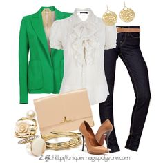 """""""Green Blazer"""" by uniqueimage on Polyvore"""