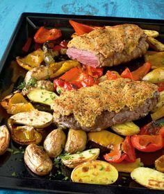 Rumpsteak mit Senfkruste///Sensation aus dem Ofen! Sie haben keinen groben Senf? Nehmen Sie einfach mittelscharfen für die Kruste.