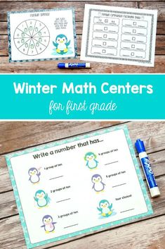 Use these penguin and polar bear winter in your first graders' math centers! The materials cover place value, number comparisons, addition, subtraction, turnaround facts, and more. $