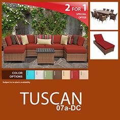 Tuscan 17 Piece Outdoor Wicker Patio Furniture Package TUSCAN07aDC -- Click on the image for additional details.