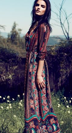 The colors, the pattern.  Looking for tops like this.  Fashion trends | Boho floral printed maxi dress
