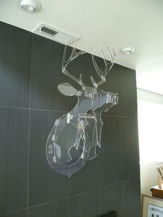 This acrylic deer makes a quirky addition your wall instead of a traditional taxidermy! Lucite Furniture, Acrylic Furniture, Art Deco Furniture, Diy Furniture, Casa Kaufmann, My Art Studio, Buy Furniture Online, Interior Architecture, Interior Design