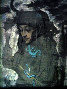 Lucien Levy-Dhurmer, The Witch, 1897 Season Of The Witch, Bizarre, Pre Raphaelite, Various Artists, Art Nouveau, Mystery, My Arts, Sketches, Symbols