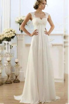 vintage dentelle taille empire longue forme princesse ivoire mousseline de soie robe de mariée