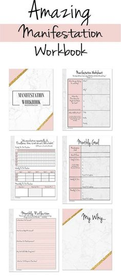 Amazing Manifestation Workbook Planner Insert Or Standalone