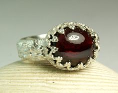 Red Garned Ring, Sterling Silver, Natural Stone, Birthstone, Hand Made Custom Jewelry, made to order