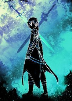 Black silhouette of the Black Swordsman. High-quality metal wall art meticulously designed by donnie would bring extraordinary style to your room. Hang it & enjoy. Godzilla Wallpaper, Trippy Wallpaper, Naruto Wallpaper, Neko, Hero Poster, Sword Art Online Kirito, Black Silhouette, Black Abstract, Manga Characters