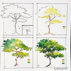 art acuarela I was sketching this tree when a thought hit me --gt; what about This simple tree is literally simple to Tree Watercolor Painting, Watercolor Painting Techniques, Watercolor Tips, Watercolour Tutorials, Painting Art, Simple Watercolor, Watercolor Flowers, Watercolor Artists, Watercolor Landscape Tutorial