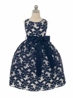 Navy Flower Embroidered Lace Dress w/ Removable Sash