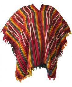 Peruvian Traditional Wool Blend Poncho - Chakana - Ponchos - Ponchos & Shawls - Textiles and Weavings