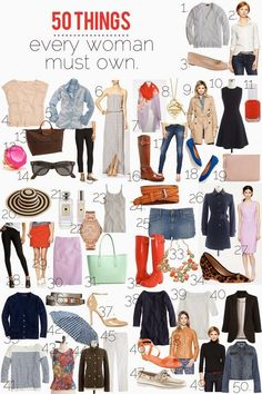 50 things every woman must own! 50 things every woman must own, capsule wardrobe, minimal wardrobe, what to wear Cute Fashion, Look Fashion, Fashion Beauty, Womens Fashion, Fashion Tips, Fashion Trends, Fall Fashion, Petite Fashion, 80s Fashion
