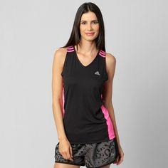 Camiseta Regata Adidas 3S Response - Preto+Rosa