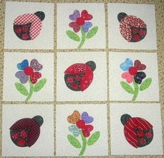 Set of 9 Adorable Ladybugs and Flowers Quilt by MarsyesQuiltShop, $13.95