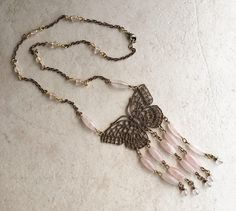 Ilaria, Rose Quartz Beaded necklace with 1920 Butterfly Filigree Pendant ILA001 by UnnamedHeir on Etsy