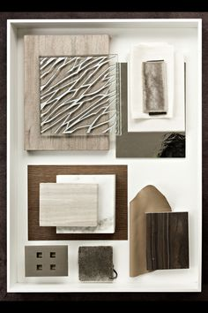 Today's flatlay: Featuring Ecoustic Veneer, Axis, Curve and plain acoustic panels, as well wallcovering. · · · The client wanted a masculine touch to the man cave that would provide a sanctuary away from the rest of the home. Mood Board Interior, Interior Design Boards, Ecole Design, Interior Design Presentation, Presentation Styles, Material Board, Mood And Tone, Collage, Acoustic Panels