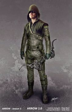 "Concept art of Green Arrow with suit upgrades from ""Arrow"" (2015) by Andy Poon. Description from pinterest.com. I searched for this on bing.com/images"