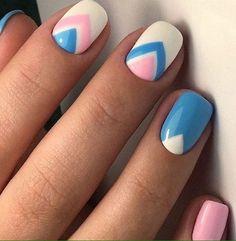 Beautiful nail colors, Blue and white nails, Bright colorful nails, Cool nails, Ideas for short nails, Modern nails, Nail art stripes, Nails ideas 2017