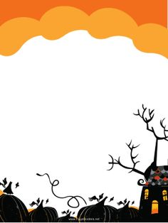 A spooky, black pumpkin patch and a creepy, haunted house decorate this free, printable, Halloween border. Free to download and print.