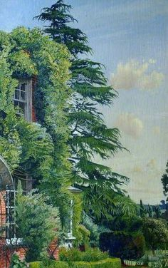 Englefield House, Cookham by Stanley Spencer (English Your Paintings, Beautiful Paintings, Landscape Art, Landscape Paintings, Stanley Spencer, English Artists, British Artists, Garden Painting, Post Impressionism