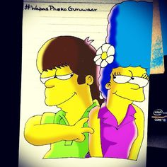 """""""Aati kya Khand'ohla! #ThrowbackThursday #Young #Homer #Marge #Simpsons #Homerization  #instadaily #art #instagramers #igers #followback #igaddict…"""""""
