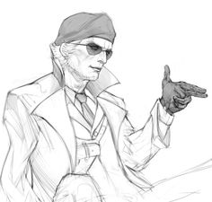 f0rzashing:  I hope TPP Kaz isn't so sad all the time, so I decided to draw him imitating Ocelot's gesture :>