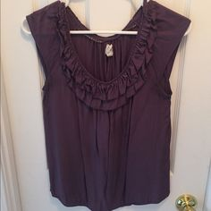 Anthropologie cap sleeve top. Dusty purple. Size 4 Anthropologie edme & estllyte. Cap sleeve top with ruffle neckline in dusty purple. Size 4. Anthropologie Tops