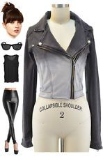 Edgy Black to Grey OMBRE Fade Out DIP DYE Zippered MOTO Motorcycle JACKET