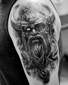 Viking Tattoos For Men, Viking Warrior Tattoos, Arm Tattoos For Guys, Japanese Sleeve Tattoos, Full Sleeve Tattoos, Tattoo Sleeve Designs, Norse Mythology Tattoo, Norse Tattoo, Thor Tattoo