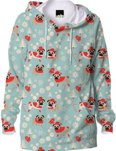 Adorable pugs in holiday attire on a pastel blue background make this hoodie stand out