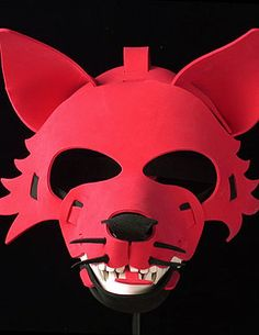 Halloween Mask - red wolf mask of recycled material