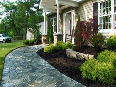 vorgartengestaltung mit kies - ein hübscher steingarten | terrasse, Gartenarbeit ideen